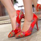 Embroidered High-heel Pumps
