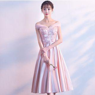 Lace Panel Elbow Sleeve Bridesmaid Dress