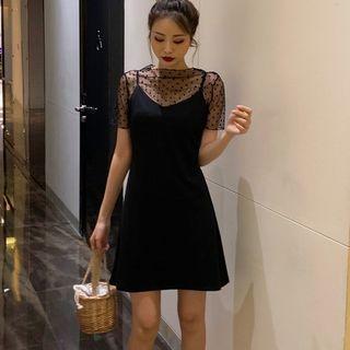 Plain Strappy A-line Dress Black - One Size