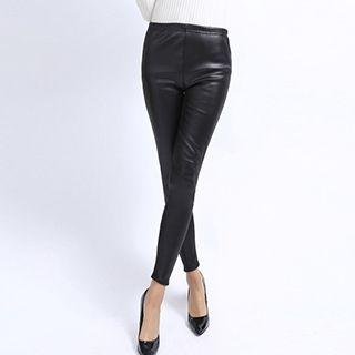 Fleece-lined Faux Leather Skinny Pants