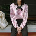 Long-sleeve Striped T-shirt Stripe - Red - One Size