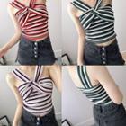 Striped Halter Knit Top