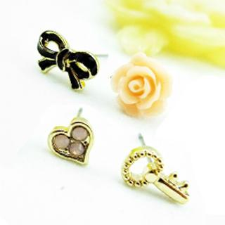 Rose And Ribbon Earrings Other Color - One Size