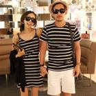 Striped Sundress / Set: Striped T-shirt + Shorts