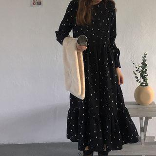 Long-sleeve Print A-line Midi Dress Black - One Size