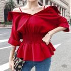 Cold-shoulder Smocked Blouse Red - One Size