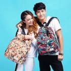 Printed Nylon Couple Backpack