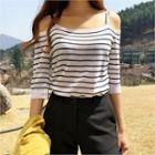 Cutaway-shoulder Stripe Knit Top