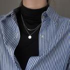 925 Sterling Silver Disc Pendant Layered Necklace 925 Silver - Silver - One Size