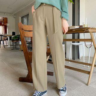 Band-waist Wide-leg Dress Pants With Belt