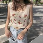 Embroidered Knit Sleeveless Top White - One Size