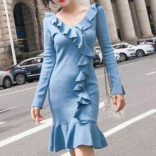 Ruffle Trim Long-sleeve Knit Sheath Dress