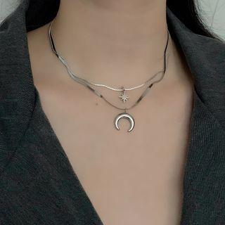 Layered Moon & Star Necklace Silver - One Size