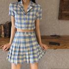 Plaid Short-sleeve Shirt / Plaid Pleated Skirt