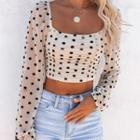 Dotted Cropped Mesh Blouse