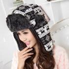 Patterned Ear Warmer Fleece Lined Hat