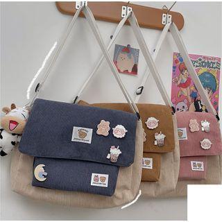 Two-tone Corduroy Messenger Bag