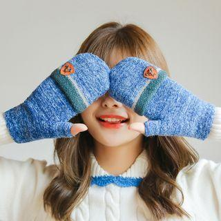 Colour Block Convertible Knit Mittens