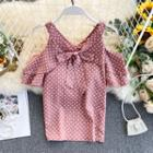 Cold-shoulder Dotted Chiffon Top