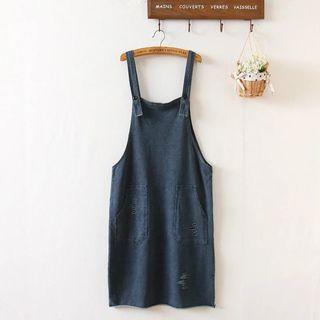 Ripped Denim Pinafore Dress