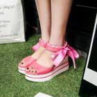 Ribbon Detail Wedge Sandals
