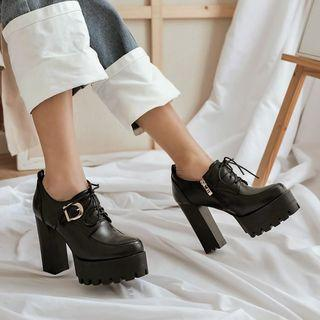 Platform Chunky-heel Lace-up Shoes