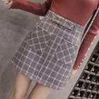 Plaid Pocketed A-line Skirt