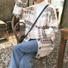 V-neck Patterned Cardigan As Shown In Figure - One Size