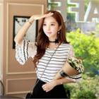 Lace-sleeve Striped Top