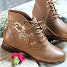 Genuine Leather Embroidered Ankle Boots