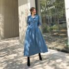 Denim Maxi Shirtwaist Dress Blue - One Size