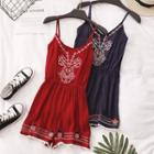 Embroidery Spaghetti Strap Playsuit