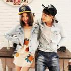 Couple Hooded Washed Denim Jacket