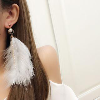 Faux Pearl Feather Drop Earring