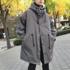 Snap-buttoned Hooded Parka