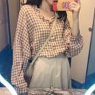 Plaid Blouse / Maxi A-line Skirt