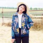Patterned Contrast-trim Jacket