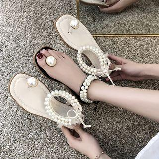 Faux Pearl Ankle-strap Flat Sandals