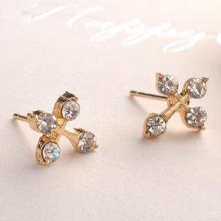 Diamond Cross Earring  Gold - One Size