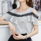 Cutout Shoulder Lace Trim Short-sleeve Top