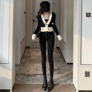 Colorblock Crop Cardigan / Skinny Jeans