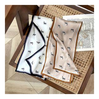 Animal Print Silk Narrow Scarf