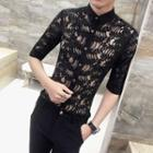 Elbow-sleeve Lace Shirt