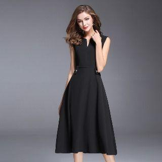 Sleeveless Notched-neck Dress