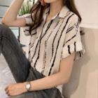 Striped Show-sleeve Blouse