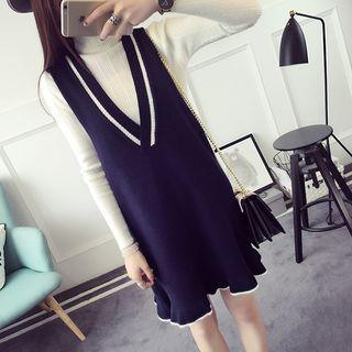 Contrast Trim Knit Tank Dress
