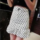 Ruffle-hem Dotted Skirt