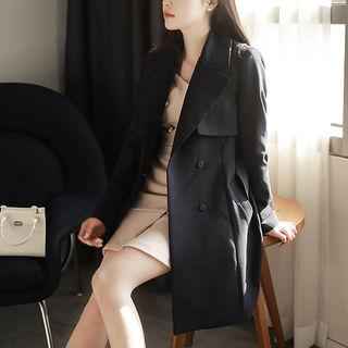 Flap-trim Trench Coat With Sash