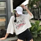 Zip Back Lettering Elbow-sleeve T-shirt