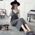 V-neck Ribbed Knit Strappy Dress